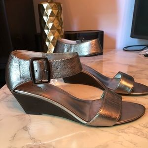 Nine West Silver Wedge Sandals size 9